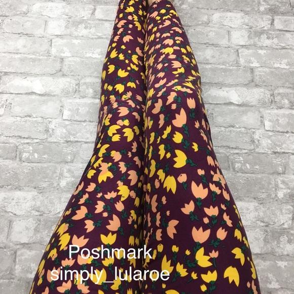 45e528e2fc4d6 LuLaRoe Pants | Purple Tulip Print Tc2 Leggings | Poshmark